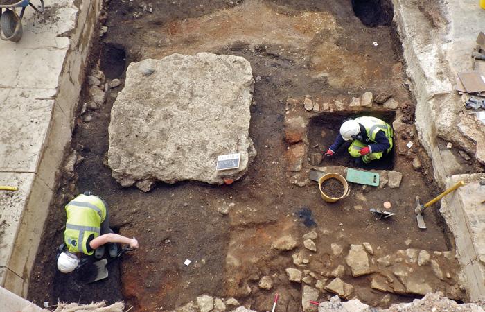 The stone-lined latrine