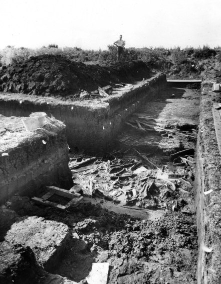 Grahame Clark (standing on  the spoil heap) excavated at Star Carr between 1949 and 1951
