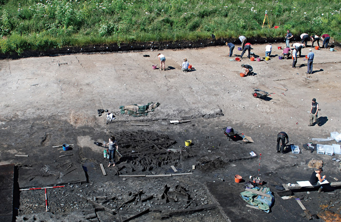 Overlooking excavations in 2014: this trench is home to a complex series of features that are thought to represent the 'central' and 'northern' structures