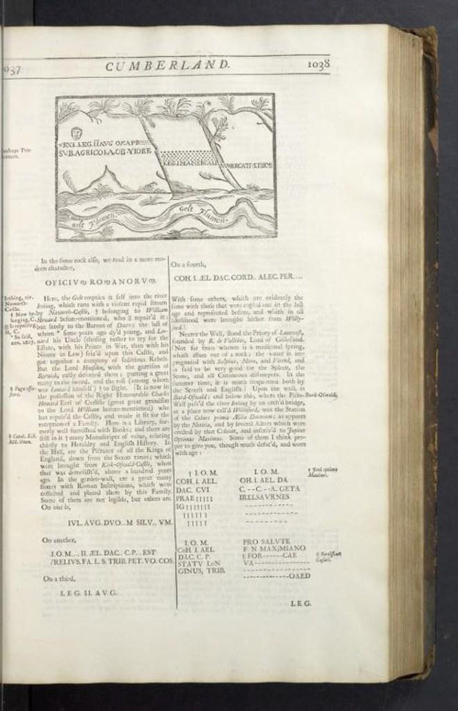 William Camden's illustration of the Written Rock of Gelt