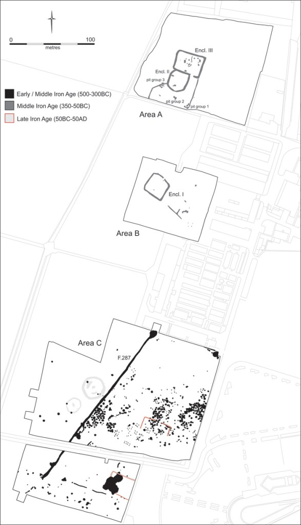 A plan showing the Iron Age features