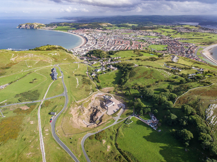 Arial shot of the Great Orme mining site, above the town on Llandudno
