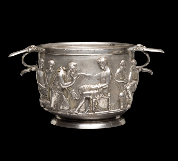 A Roman silver cup showing Priam and Achilles