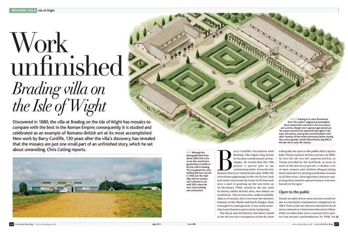 Article on Brading Roman villa in CA 280, titled Work unfinished: Brading villa on the Isle of Wight