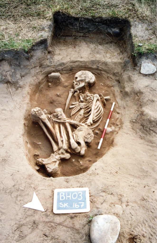 An Anglo-Saxon burial in the sand, interred in a crouched position
