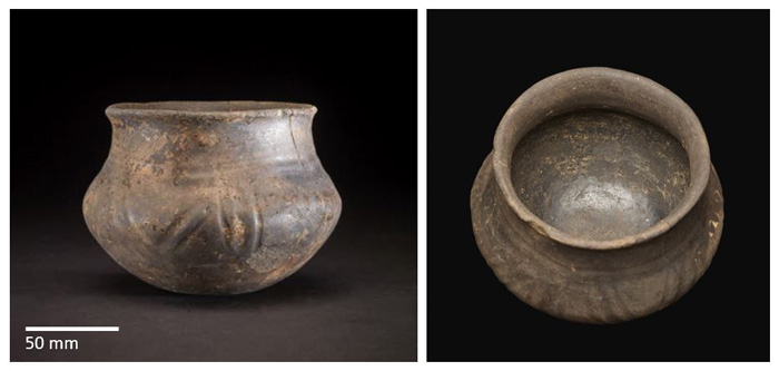 Two images of the Ringlemere vessel, one from the side and one from above