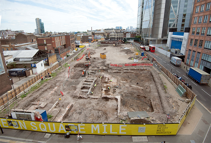 Aerial view of Principal Place excavation
