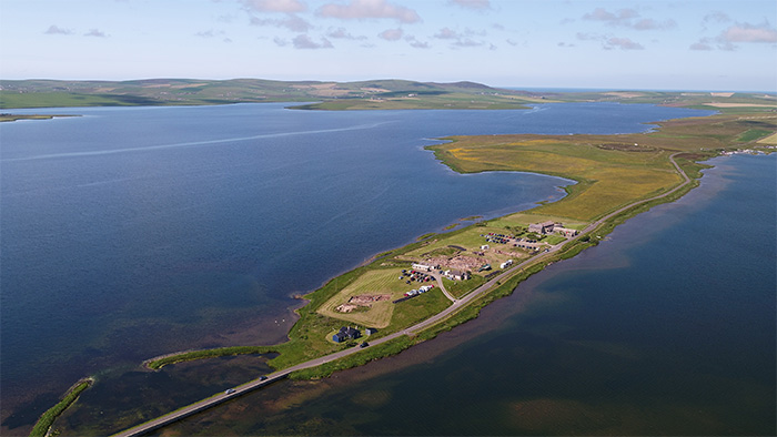 Aerial view of the Ness of Brodgar