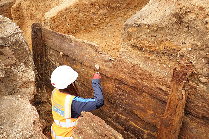 An archaeologist excavating a wooden structure believed to be the Red Lion.