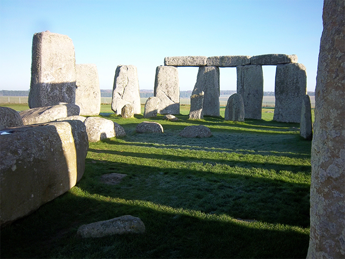Photo of the stones, taken from inside the henge