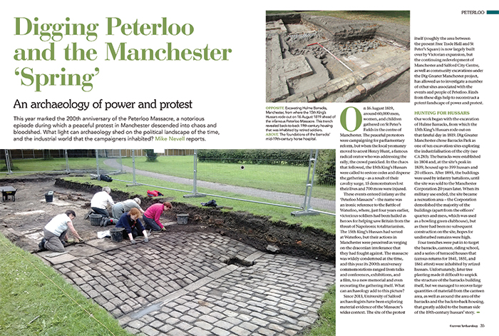 A double page spread in CA 357 titled 'Digging Peterloo and the Manchester 'Spring' - An archaeology of power and protest'