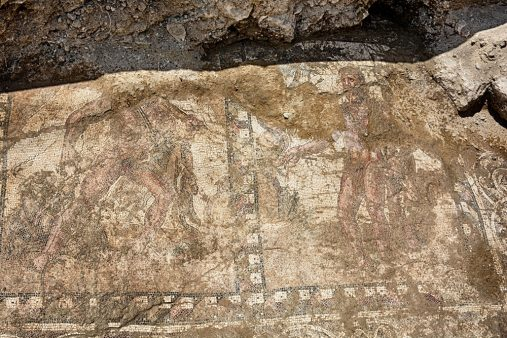 Ψηφιδωτό δάπεδο που βρέθηκε στη Λάρνακα (φωτ. Τμήμα Αρχαιοτήτων Κύπρου).