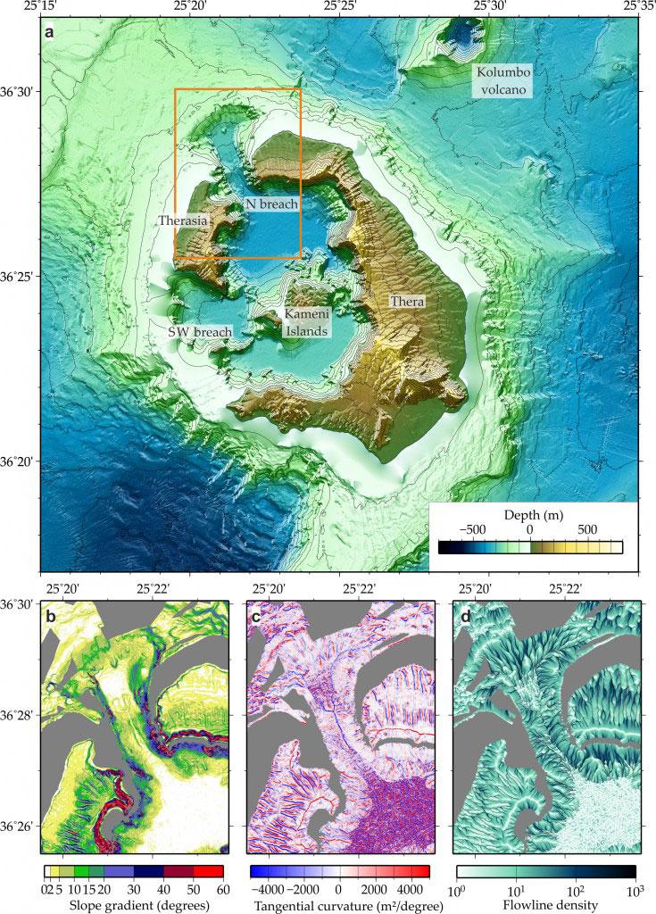 Τοπογραφικός χάρτης του ηφαιστειακού πεδίου της Σαντορίνης (πηγή: Π. Νομικού).