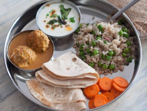 small resolution of non veg meal plate chicken kofta curry peas pulao tadka raita phulka