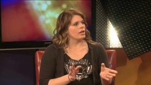 "Arch Rival Roller Girls skater Carrie ""Shimmy Hoffa"" Carpenter. Image Creidt: KPLR-TV."