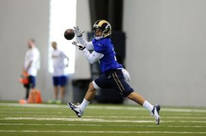 Rams WR Daniel Rodriguez during OTAs. Photo by Jeff Curry.