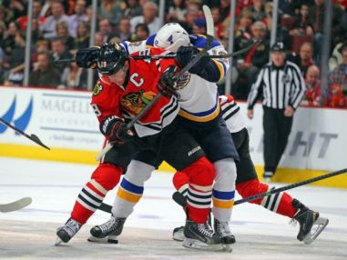 Can the Blues finally get over the hump and beat the Blackhawks in the playoffs this year? Photo via Dennis Wierbicki/USA TODAY Sports.