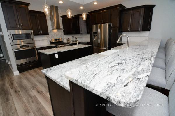 white kitchen with grey granite 8 Kitchen Countertops Design Trends in 2018