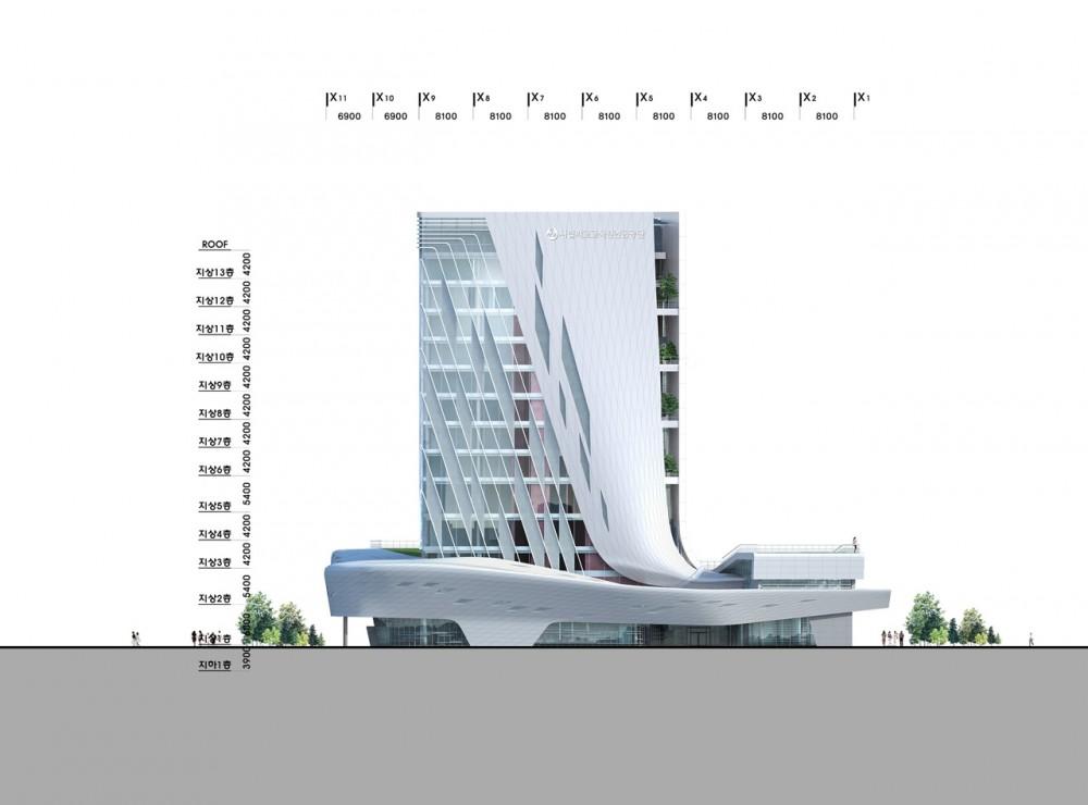 The Korea Teachers Pension Head Office / Tomoon Architects and Engineers elevation 01