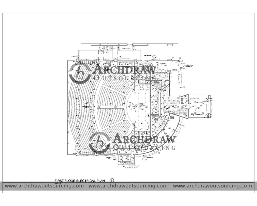 Auditoriam Plan Architectural CAD Drawing Project US