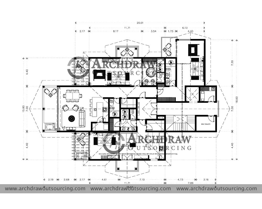 Residential Apartment Architectural Plan Drawing Project