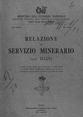 copertina della rivista del 1926 Relazione sul Servizio minerario