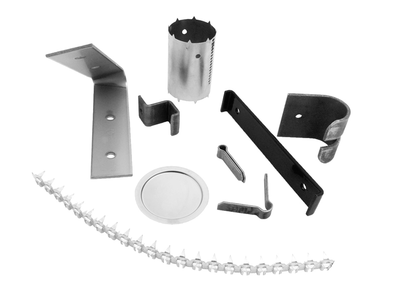 Metal pressings in steel, aluminium, brass and stainless steel with zinc