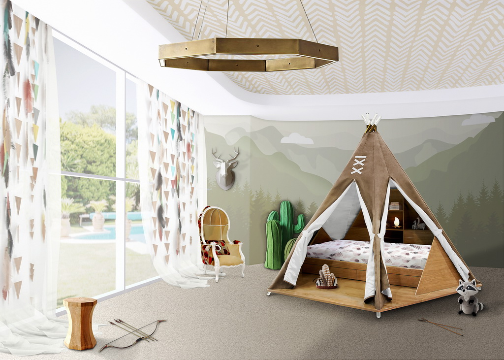 kids upholstered rocking chair ikea rattan kids' room ideas - teepee inspired by pocahontas | archi-living.com