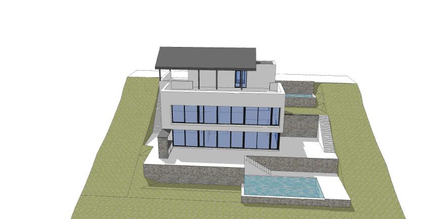 Maison contemporaine avec piscine sur versant wavre for Construction piscine brabant wallon