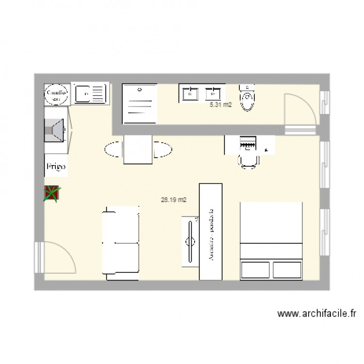 Appartement F1 Plan