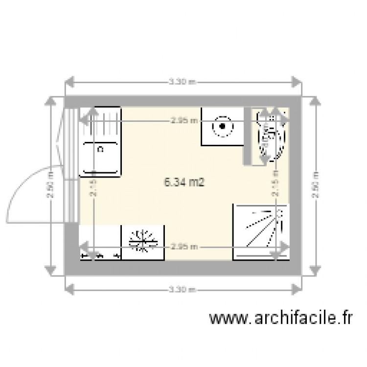 buanderie plan 1 piece 6 m2 dessine