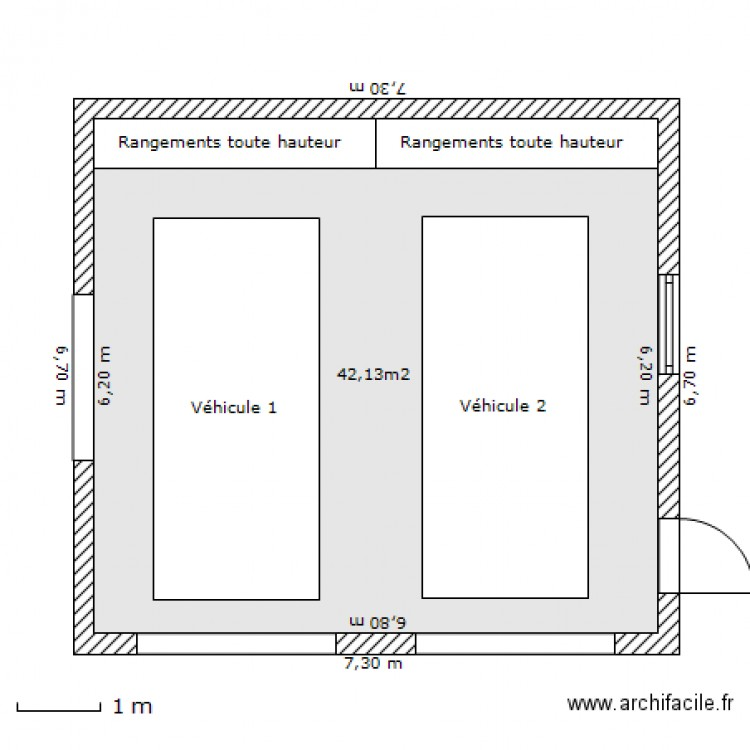 Garage double  Plan 1 pice 42 m2 dessin par aphabitat