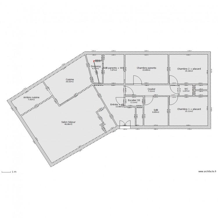 Plan De Maison En V Gratuit Interesting Plan De Maison Chambres M
