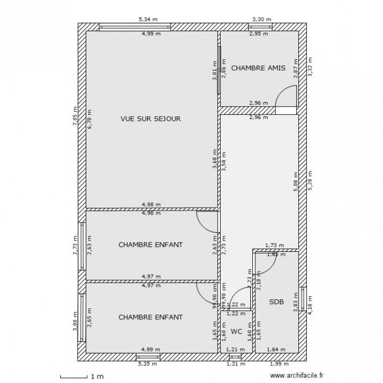 maison rectangle etage plan 7 pieces