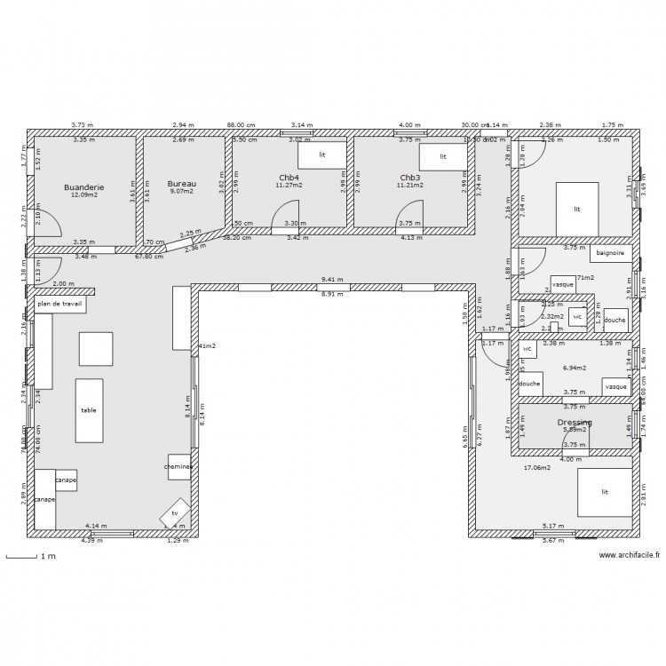 Super Plan Dressing En U. Affordable Ground Floor Plan With Plan  XJ21