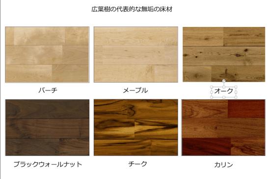 広葉樹の無垢の床材の画像
