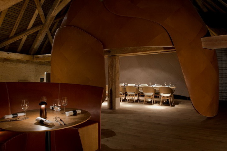 french brasserie chairs tulip table and next strasbourg hotel restaurant by studio jouin manku