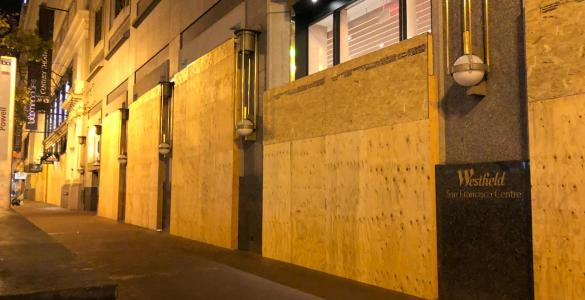 San Francisco Stores Boarded Up on COVID crisis