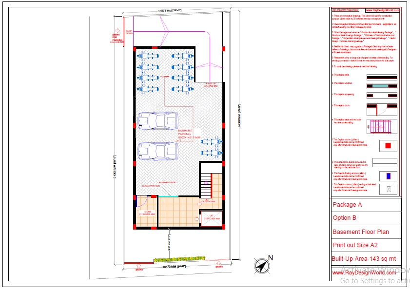 Commercial Complex Design-Basement floor Plan - Indranagar Lucknow UP - Mr. Abhishek Singh