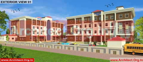 School and Hostel Design -3D Exterior view 01- Uttar Dinajpur West Bengal - Mr.Abdullah Sabir