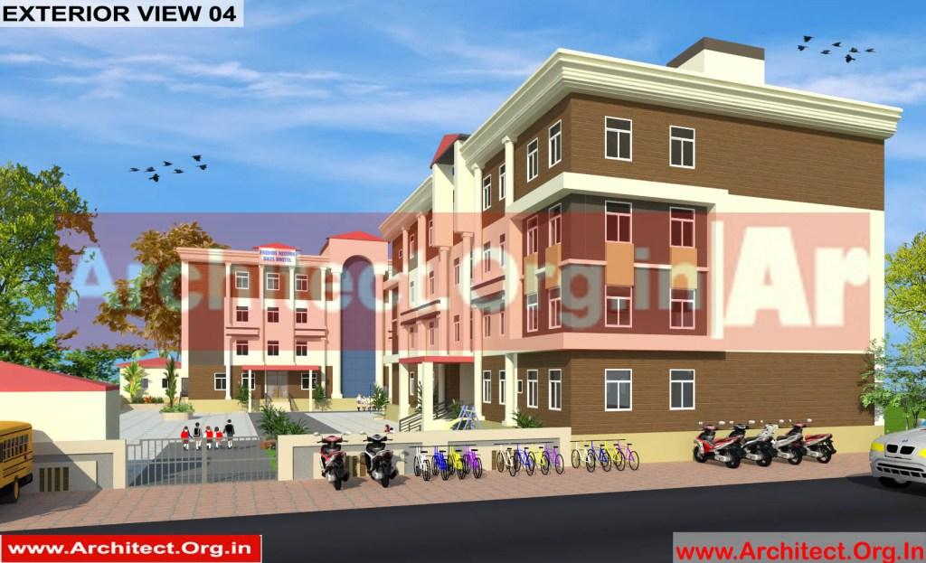 School and Hostel Design -3D Exterior view 04 - Uttar Dinajpur West Bengal - Mr.Abdullah Sabir