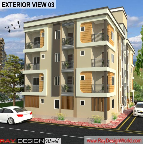 Apartment Design -3D Exterior View 03 – Guna Madhya Pradesh – Mr. Arvind Goyal