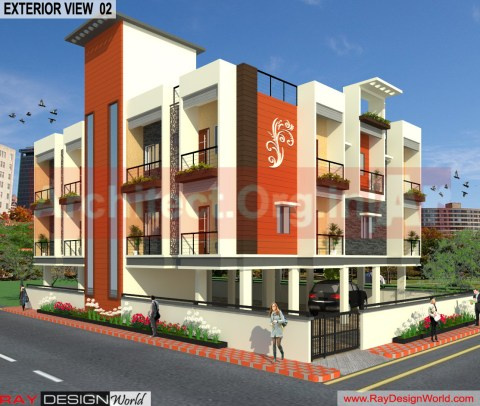 Apartment 3D Exterior Design view 02