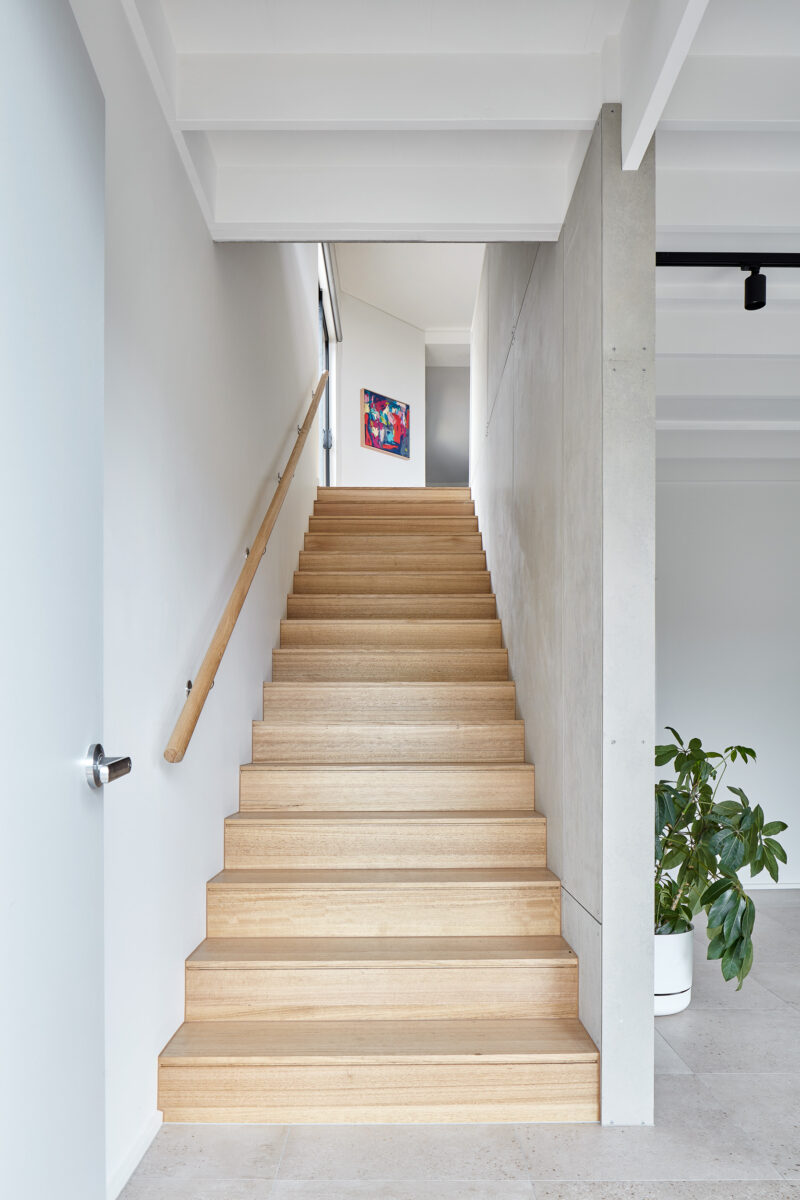 Stairs with Grey Sheeting