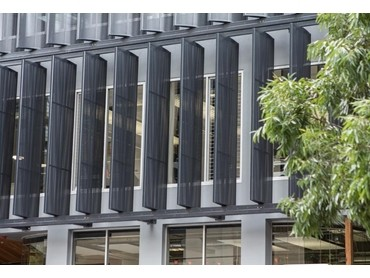 Shutterflex Perforated Aluminium Ellipse Fins reinvents Publicity Works building facade