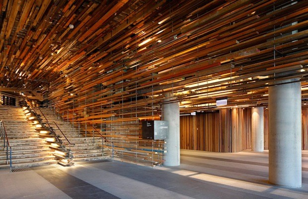2000 planks of reclaimed wood suspended in Canberras