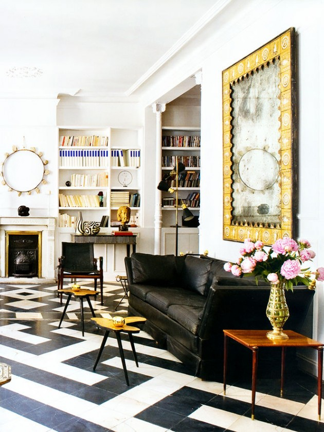 white tile floors in living room accent wall color for small 25 classy and elegant black