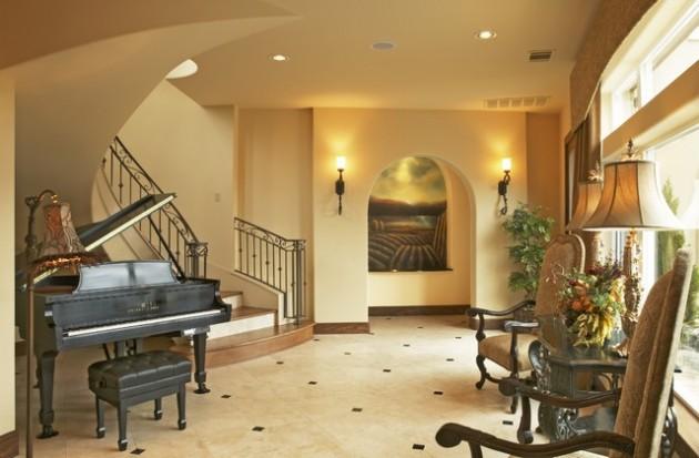 Living Room Piano Fireplace
