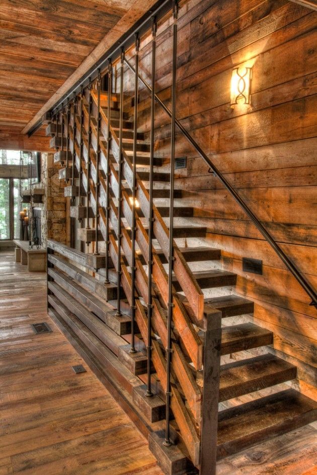 17 Splendid Rustic Staircase Designs To Inspire You With Ideas | Rustic Handrails For Stairs | Modern | Country Style | Antique Wooden Stair | Basement | Interior