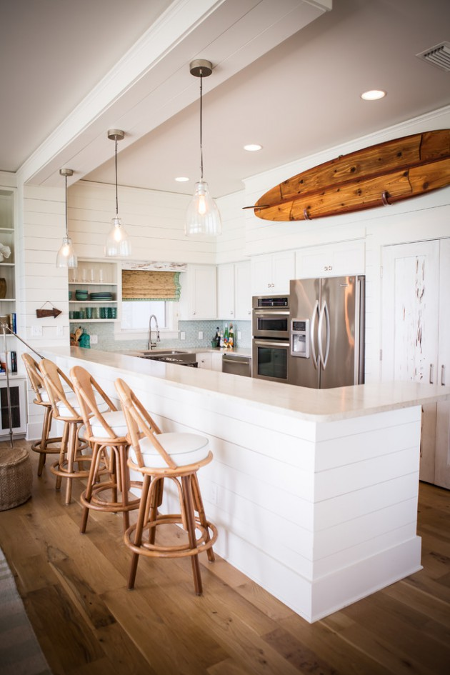 Walls, ceiling and trim paint color is sherwin williams alabaster. 18 Fantastic Coastal Kitchen Designs For Your Beach House or Villa